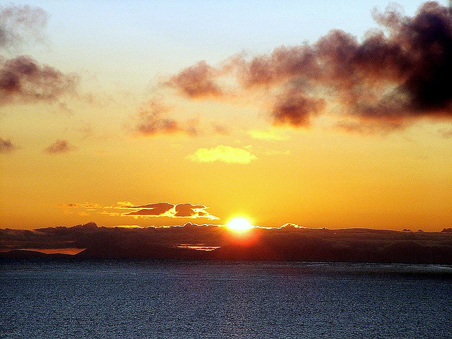 Sunrise over Wester Ross hills and the Minch